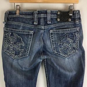 Miss Me Jeans Size 29 Boot cut Blue Raw Edge Hem